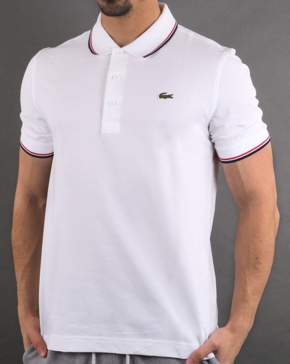 5b2c32d2 Lacoste Tipped Polo Shirt White/Navy/Red