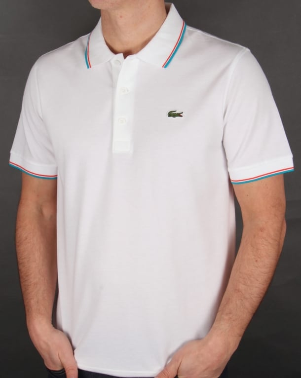 Lacoste Tipped Polo Shirt White/Ocean