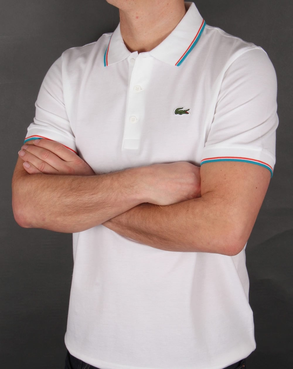 Lacoste Ultra Lightweight Knit Tipped Polo Shirt Whiteocean Mens