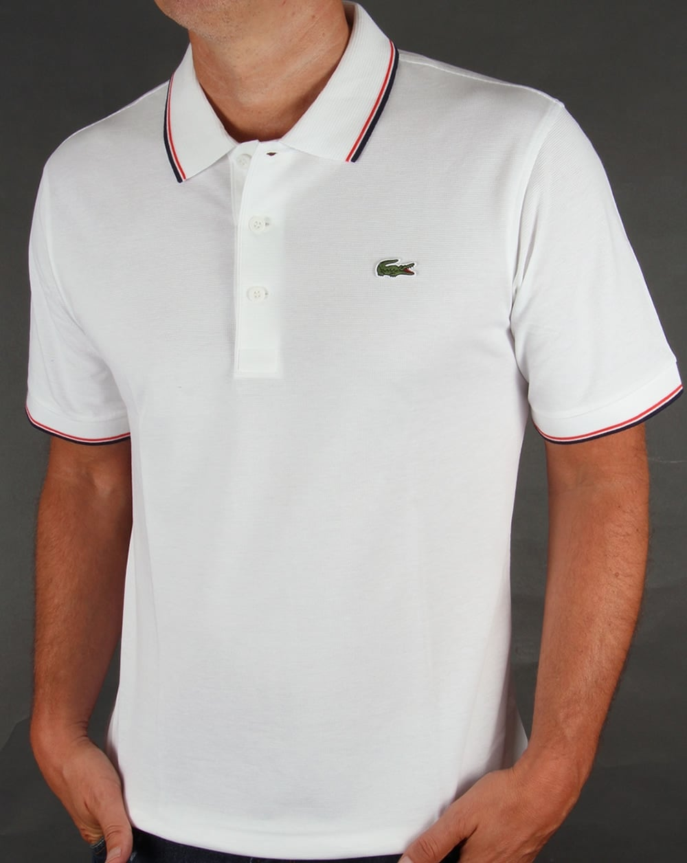 151efb4e409cf Lacoste Lacoste Tipped Polo Shirt White Red
