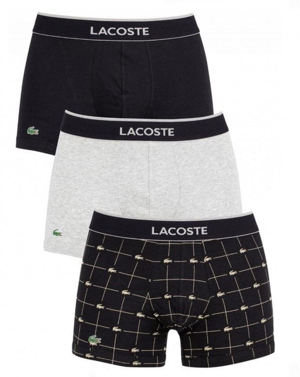 Lacoste Triple Pack Boxers Black/grey