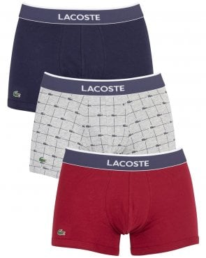 Lacoste Triple Pack Boxers Navy/grey/riding Red