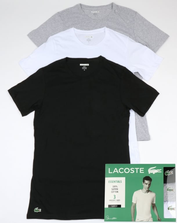 Lacoste Triple Pack Slim Fit Crew Tees Black/White/Grey