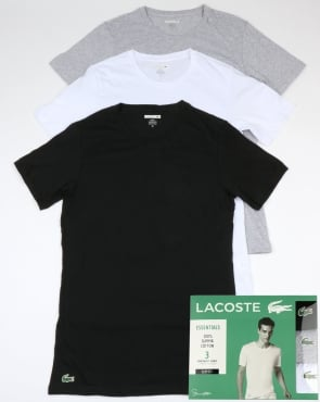 Lacoste Triple Pack Slim Fit Crew Tees Black/White/Grey