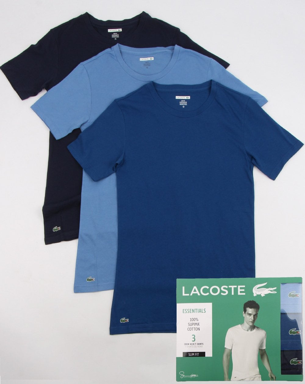 e342f28786ba Lacoste Triple Pack Slim Fit Crew Tees Navy/blue, Mens, Tee,Collection