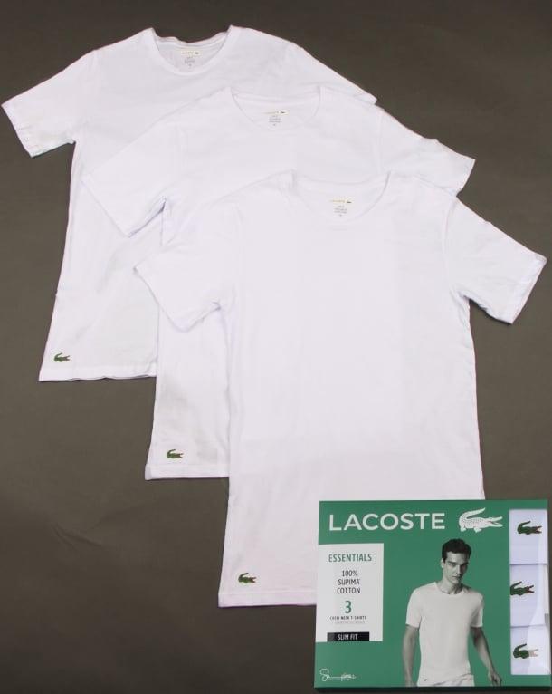 Lacoste Triple Pack Slim Fit Crew Tees White
