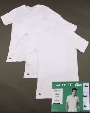 Lacoste Triple Pack Slim Fit Crew Tees White