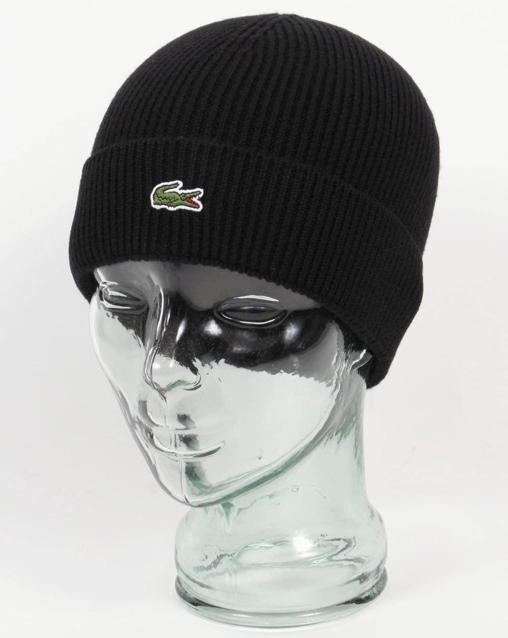 1e6f89c12ed Lacoste Lacoste Turn Up Ribbed Wool Beanie Black