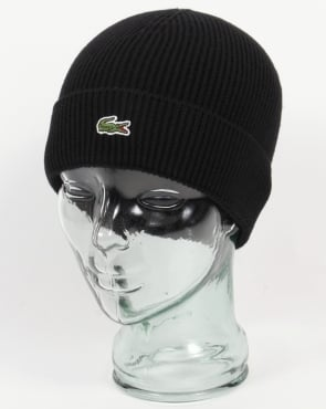 Lacoste Turn Up Ribbed Wool Beanie Black
