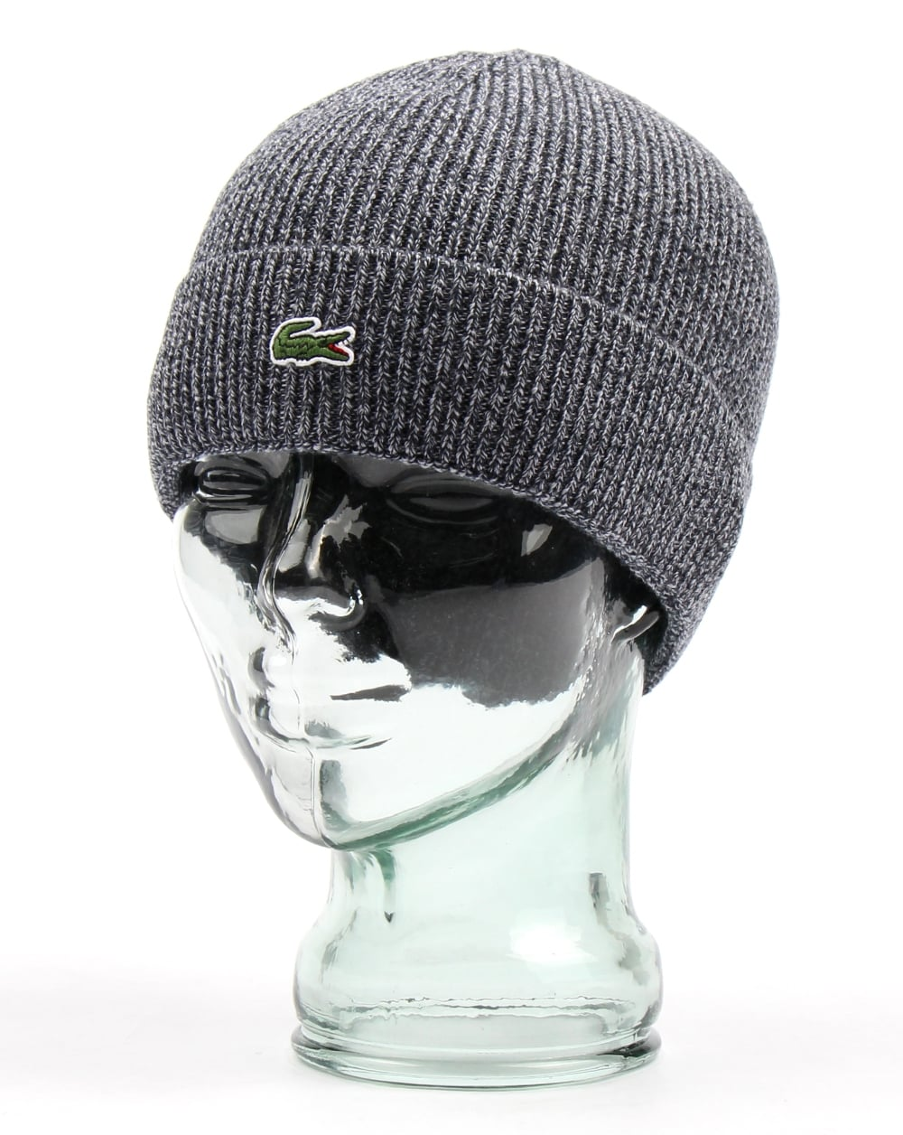 b221bf0e1 Lacoste Lacoste Turn Up Ribbed Wool Beanie Mouline Navy
