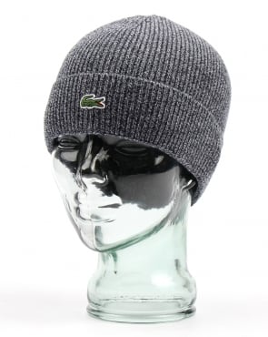 Lacoste Turn Up Ribbed Wool Beanie Mouline Navy