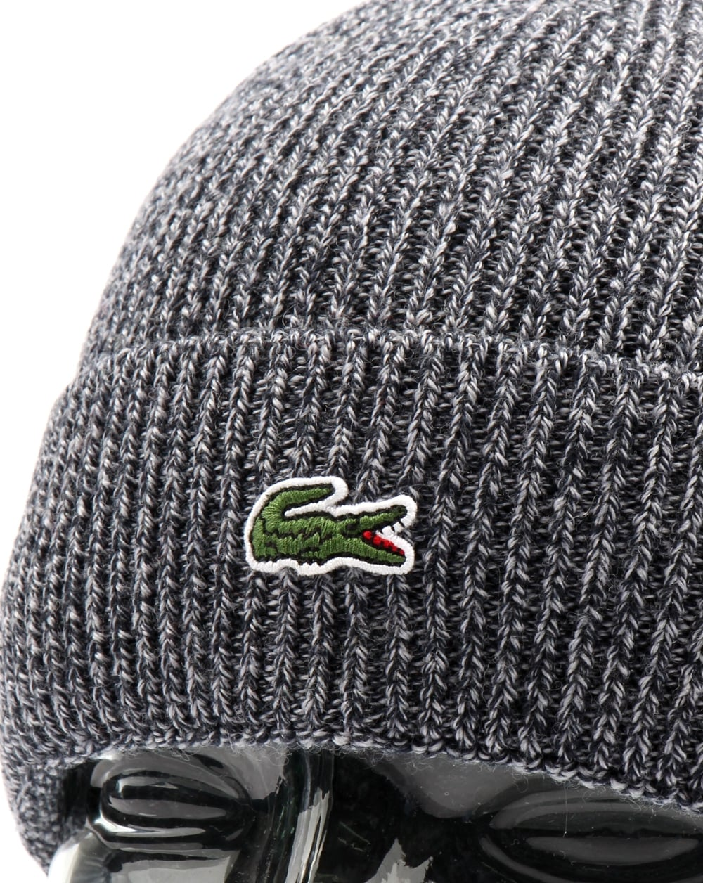546aae57cad Lacoste Turn Up Ribbed Wool Beanie Mouline Navy