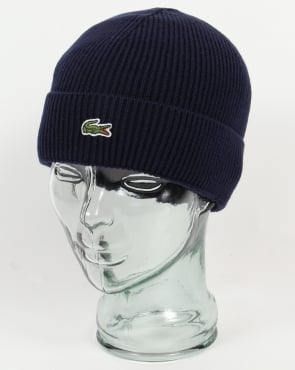 Lacoste Turn Up Ribbed Wool Beanie Navy