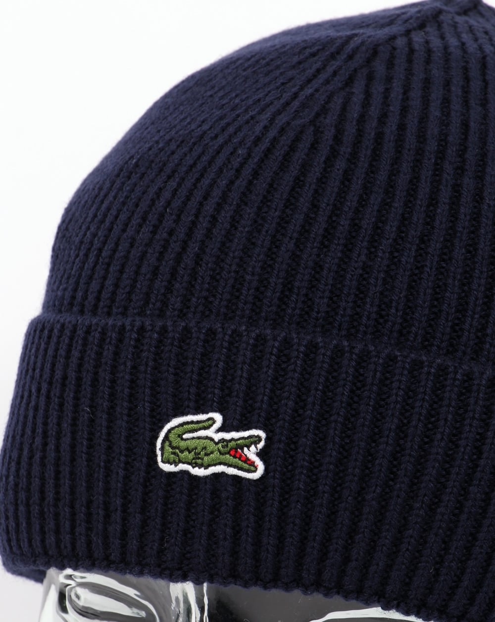 275e1923564 Lacoste Turn Up Ribbed Wool Beanie Navy