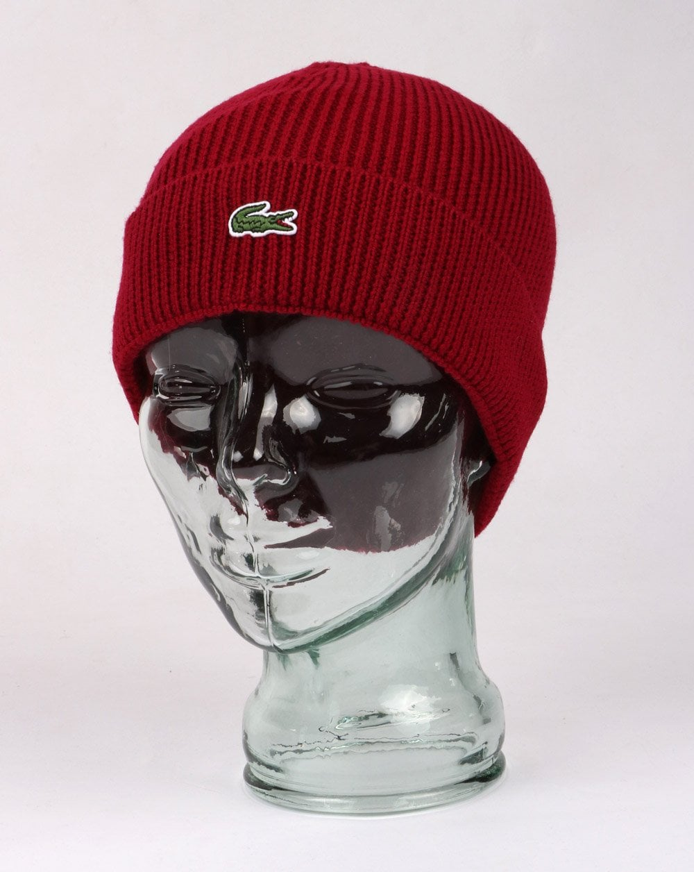 cb6dc003e6a Lacoste Turn Up Ribbed Wool Beanie Red - Hats And Caps from 80s Casual  Classics UK