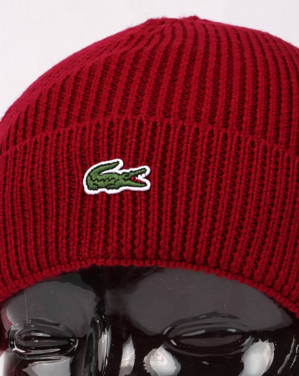 2a888f23f60 Lacoste Turn Up Ribbed Wool Beanie Red - Hats And Caps from 80s ...