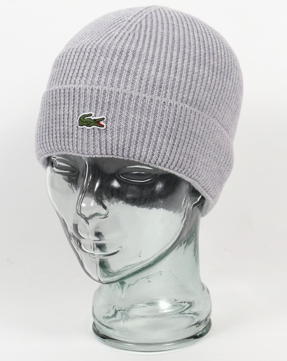 240ec2fc Lacoste Turn Up Ribbed Wool Beanie Silver,mens,hat