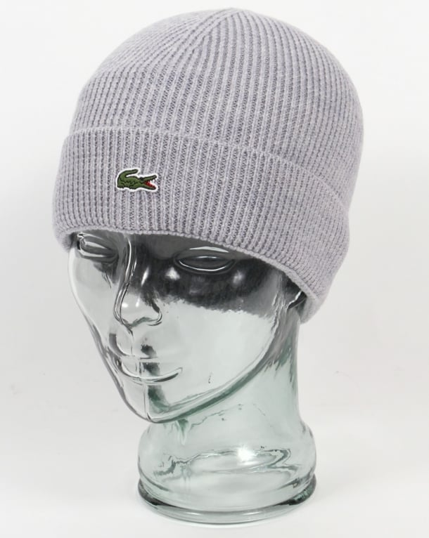Lacoste Turn Up Ribbed Wool Beanie Silver