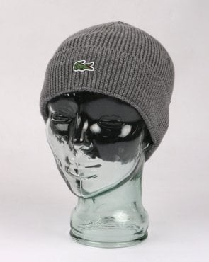 Lacoste Turn Up Ribbed Wool Beanie Stone