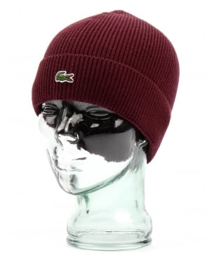 Lacoste Turn Up Ribbed Wool Beanie Vendange