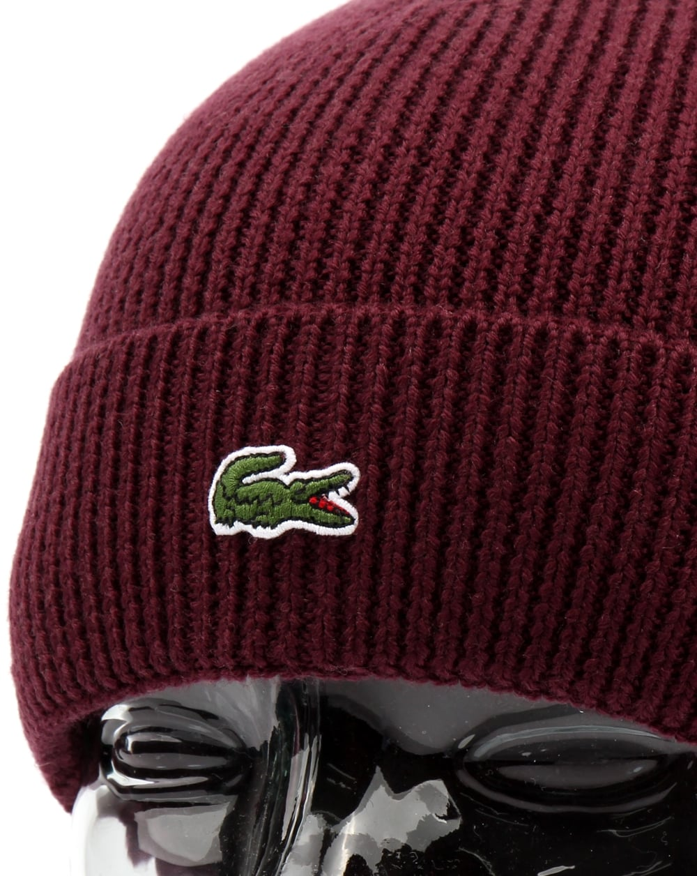 51f9d2445d2 Lacoste Turn Up Ribbed Wool Beanie Vendange