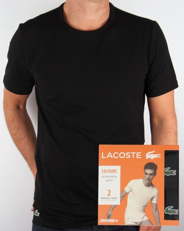 Lacoste Twin Pack Crew Neck T Shirts Black