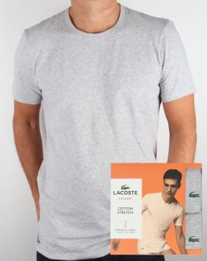 Lacoste Twin Pack Crew Neck T Shirts Grey Melange