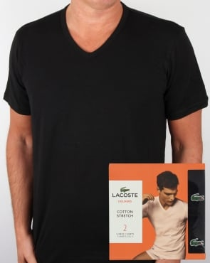 Lacoste Twin Pack V Neck T Shirts Black