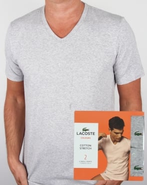 Lacoste Twin Pack V Neck T Shirts Grey