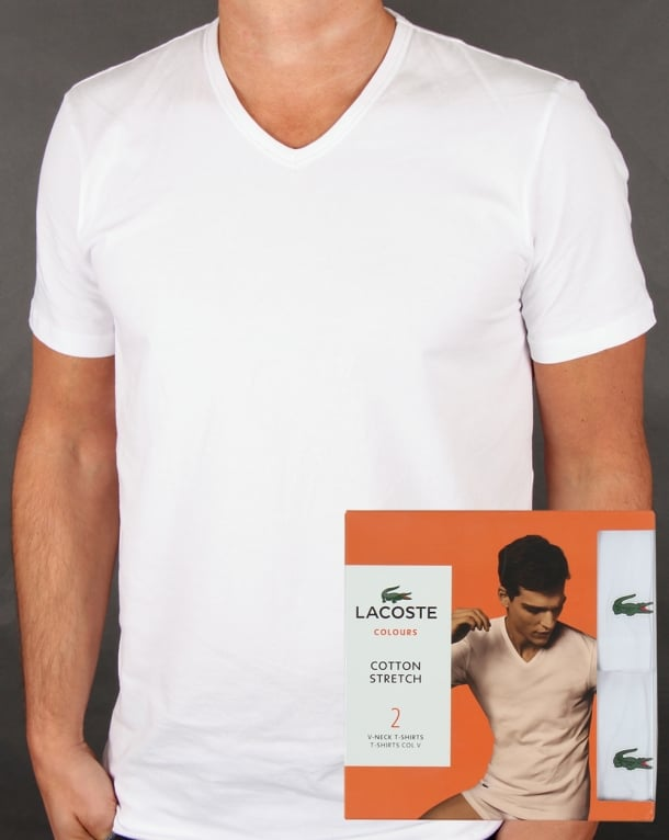 Lacoste Twin Pack V Neck T Shirts White