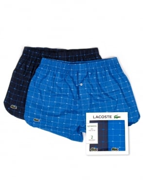 Lacoste Twin Pack Woven Boxer Shorts Blue