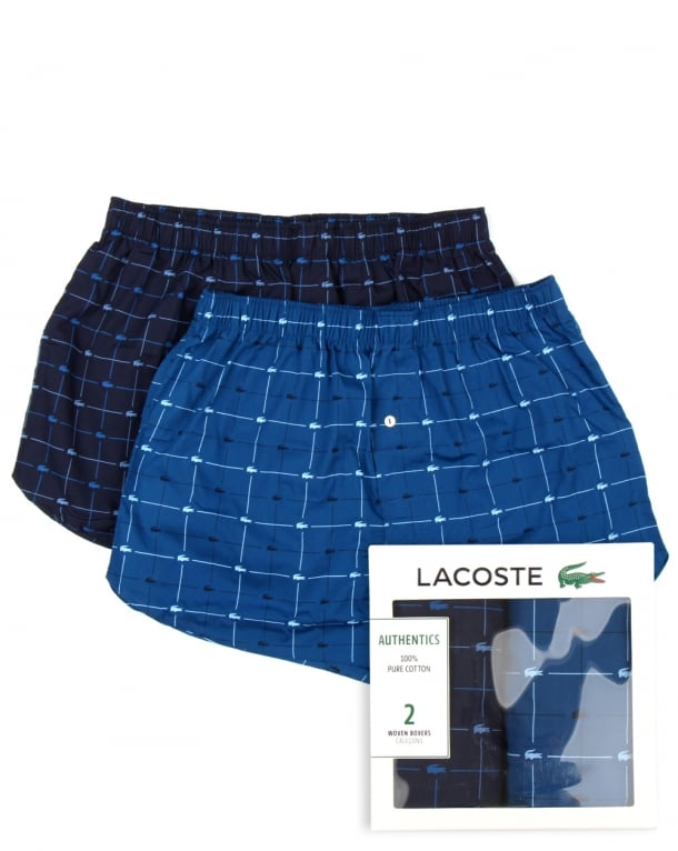 Lacoste Twin Pack Woven Boxer Shorts Navy/blue