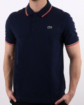 Lacoste Ultra-lightweight Knit Tipped Polo Shirt Navy/mexico Red