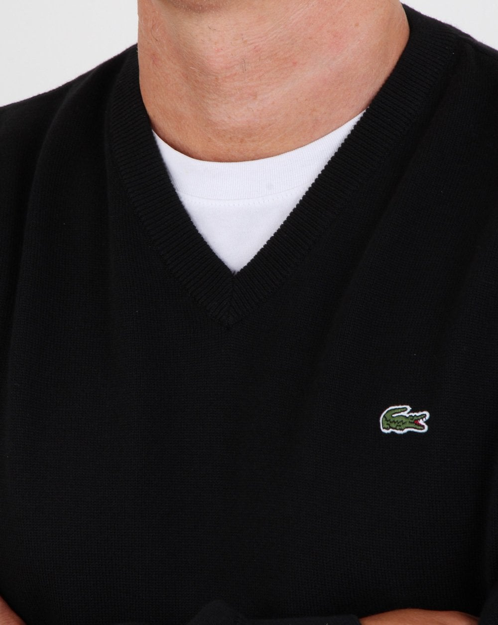 800b318093 Lacoste V-neck knit Black, sweater, jumper,Lacoste sweatshirt, casual