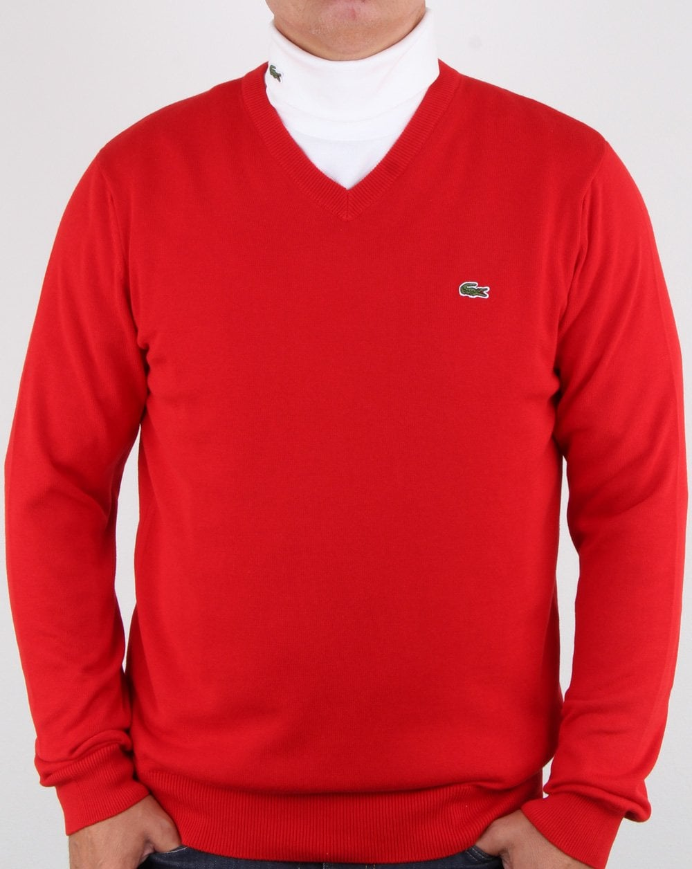 2f4f0412a3 Lacoste V-neck knit Red, jumper, V neck, 80s,sweater,casual,mens