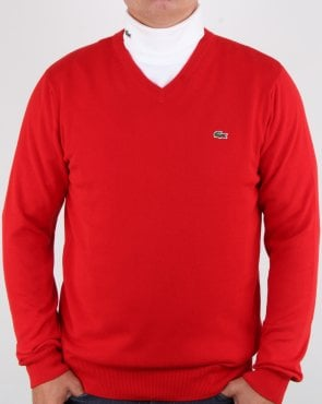 Lacoste V-neck knit Red