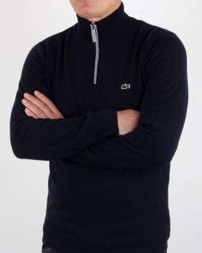 Lacoste Wool 1/4 Zip Jumper Navy