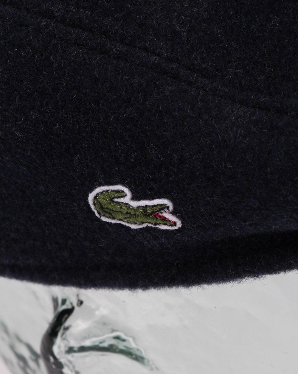 77757ef4c Lacoste Wool Broadcloth Flat Cap Navy