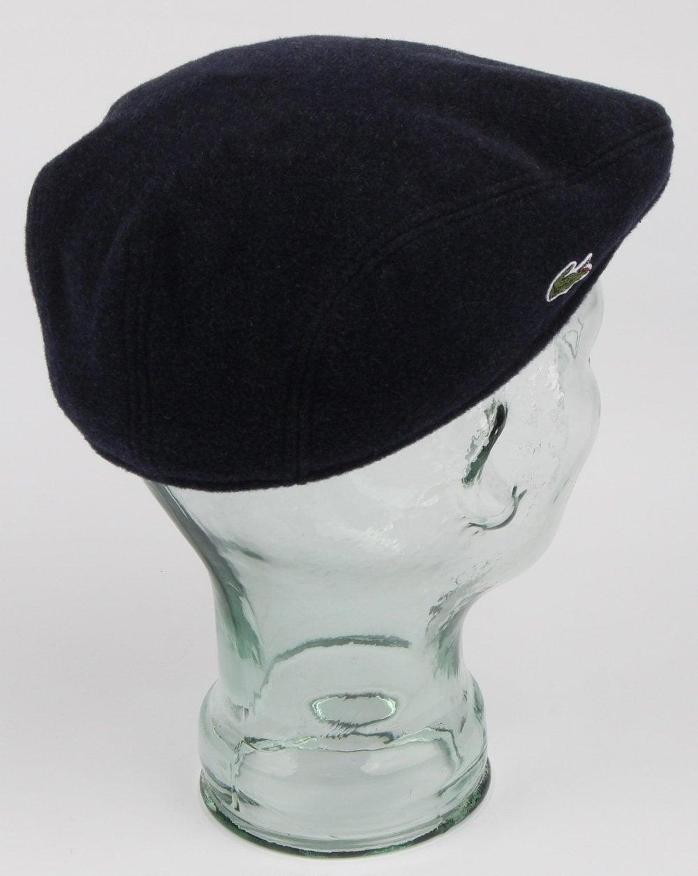 791d7d29 Lacoste Wool Broadcloth Flat Cap Navy