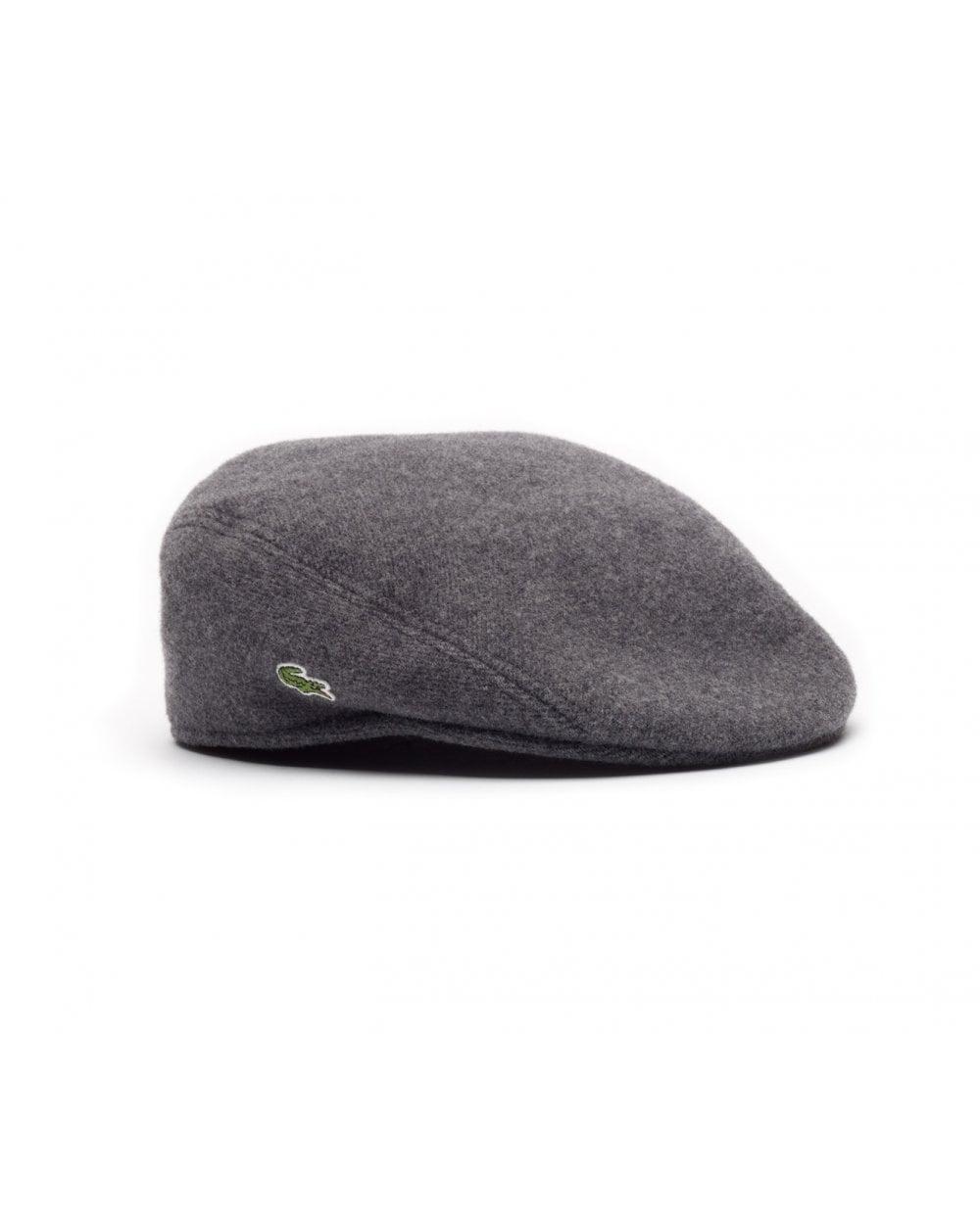7974231c Lacoste Wool Broadcloth Flat Cap Stone Grey, Men's, Hat