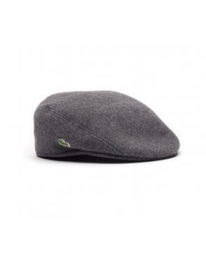 Lacoste Wool Broadcloth Flat Cap Stone Grey