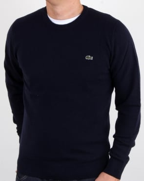 Lacoste Wool Crew Neck Jumper Navy
