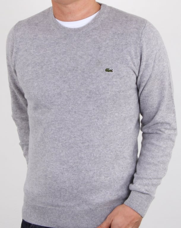 Lacoste Wool Crew Neck Jumper Silver Chine