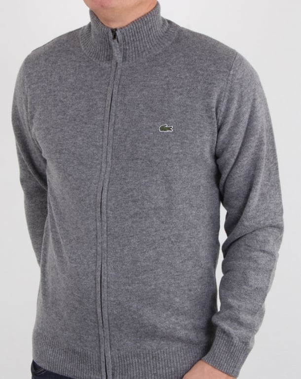 Lacoste Wool Full Zip Jumper Grey Mens Wool Ribbed Croc