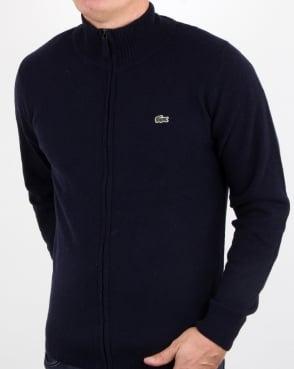 Lacoste Wool Full Zip Jumper Navy
