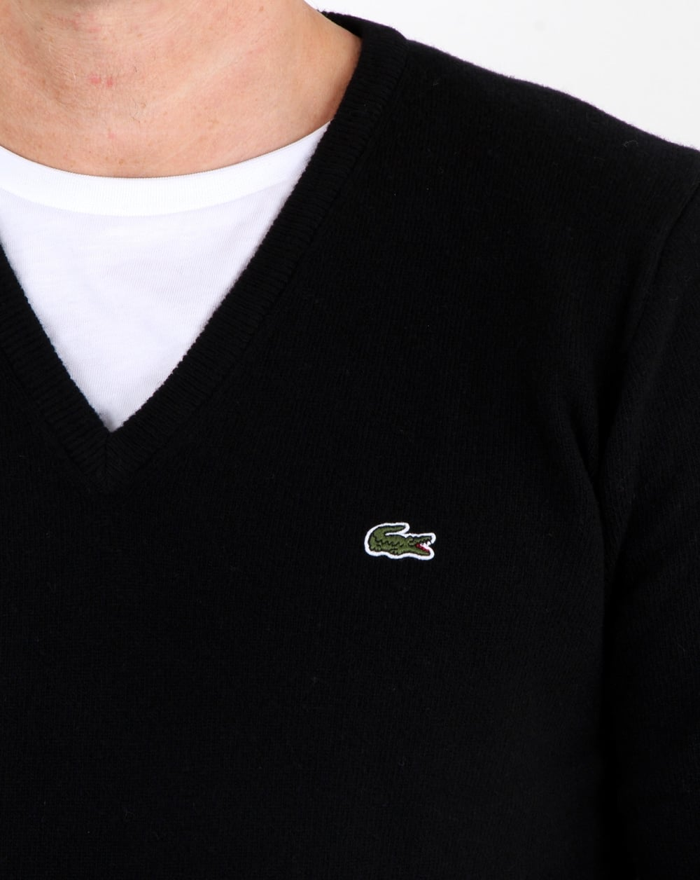 classic style fantastic savings save off Lacoste Wool V Neck Jumper Black