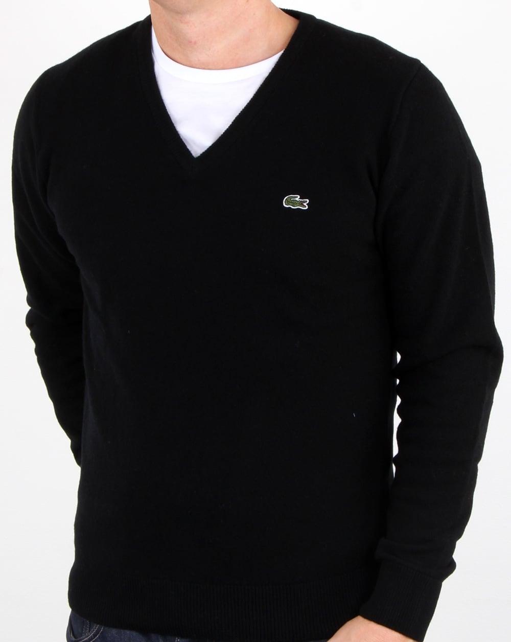Lacoste Wool V Neck Jumper Black ...