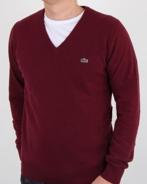 Lacoste Wool V Neck Jumper Burgundy