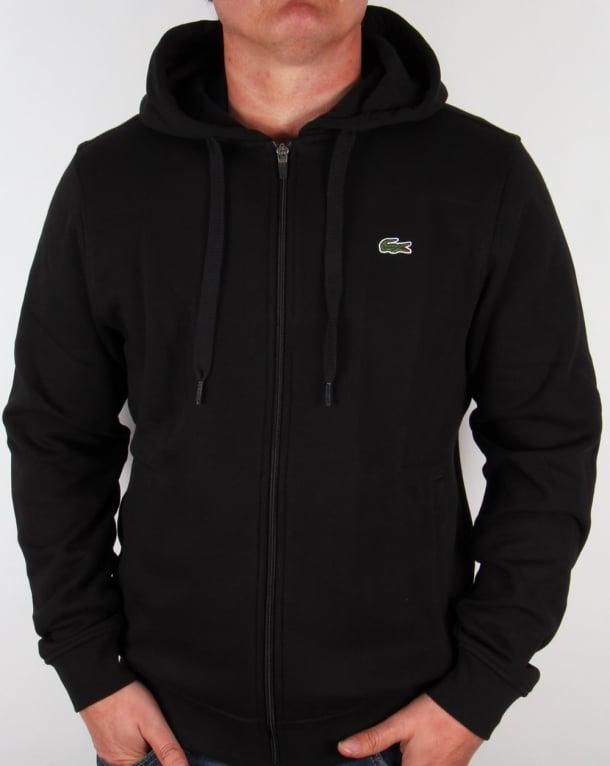 Lacoste Zip Through Hooded Sweatshirt in Black