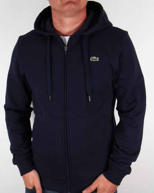 Lacoste Zip Through Hooded Sweatshirt in Navy